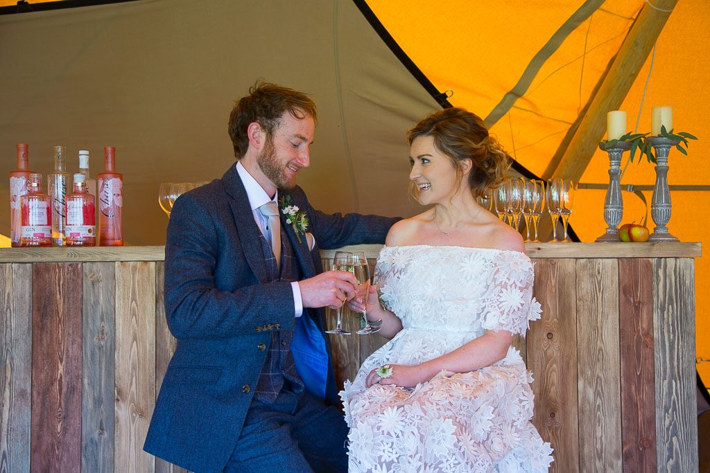 Champagne at The Bar - Tipi Wedding