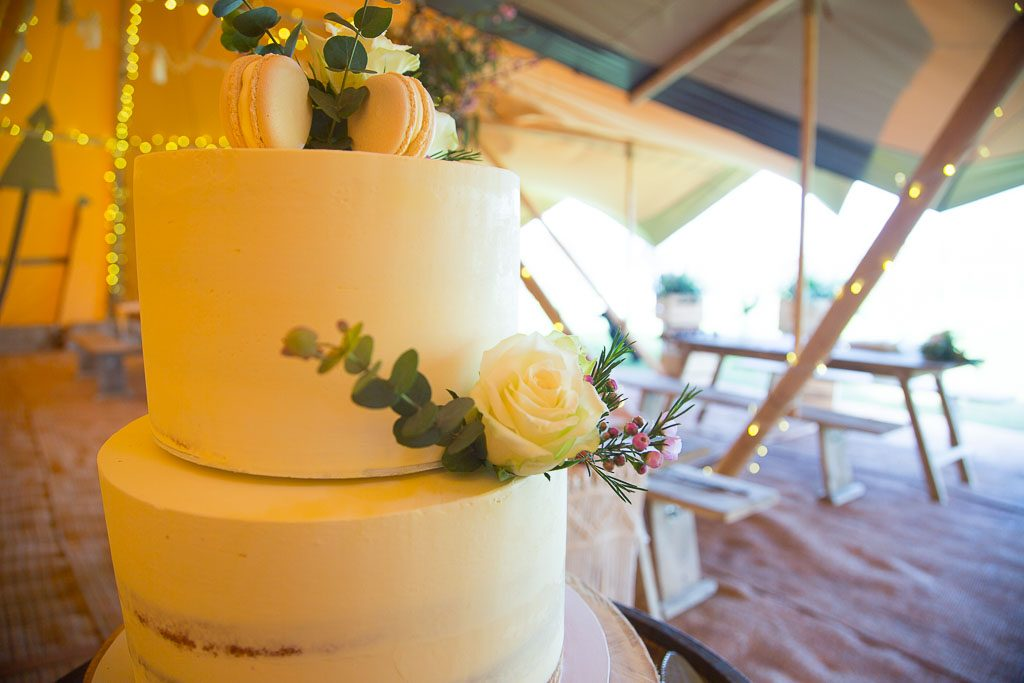 Wedding Cake in Tipi Wedding Venue