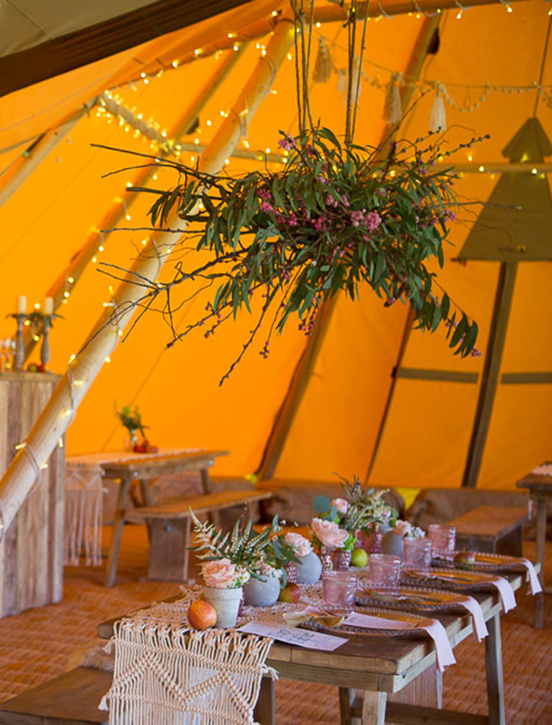 Tipi Wedding Table Layout and Decoration