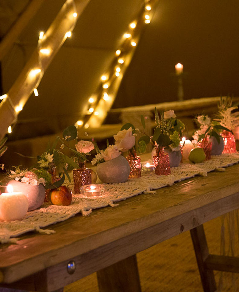 Nighttime at Tipi Wedding Fairy Lights