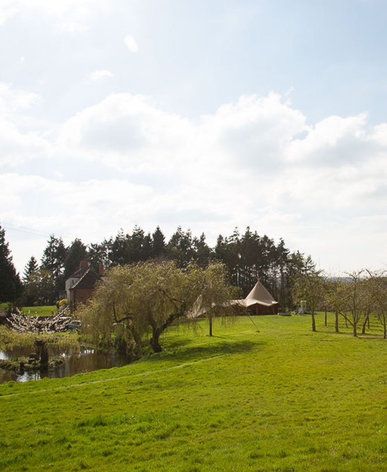Two Hat Tipi View From Grounds Outdoor Wedding