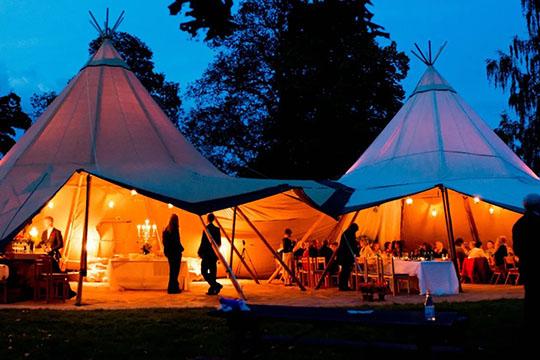 Dusk - Tipi Wedding Venue at The Orchard at Munsley