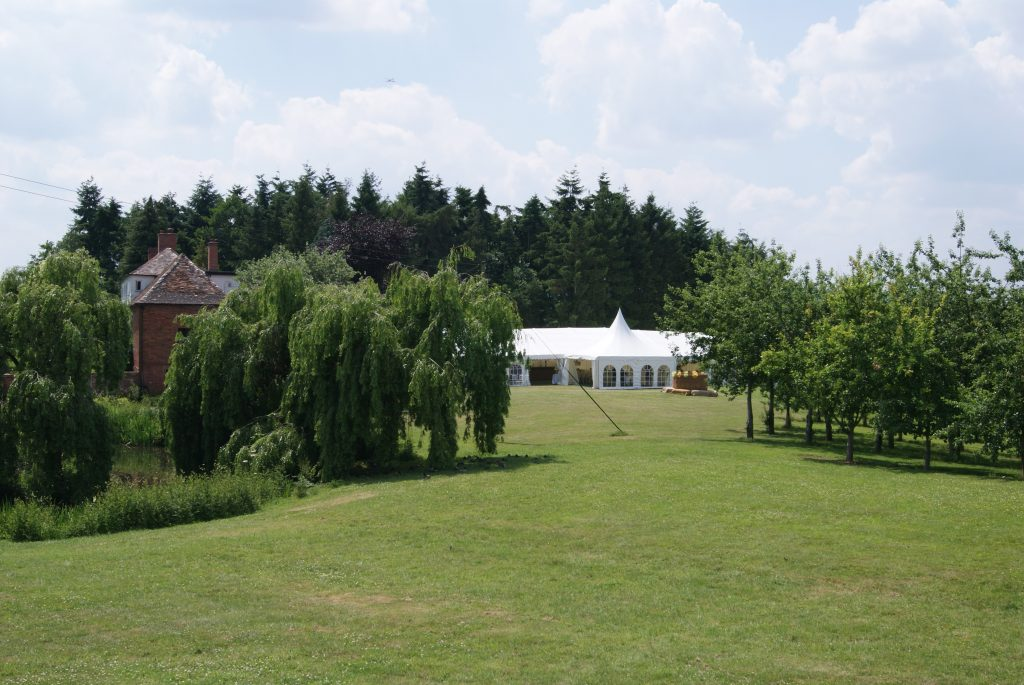 View of Marquee from grounds at the orchard at munsley