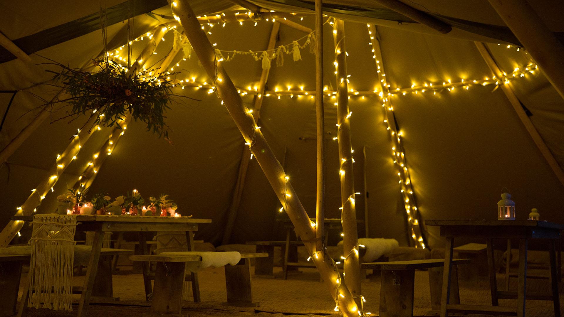 Tipi at Night - Outdoor Wedding Venue at The Orchard at Munsley